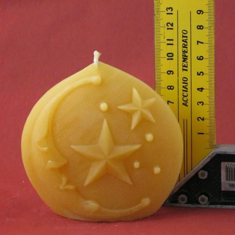 Diskuskerze Mond und Sterne ca. 10 x 3 cm
